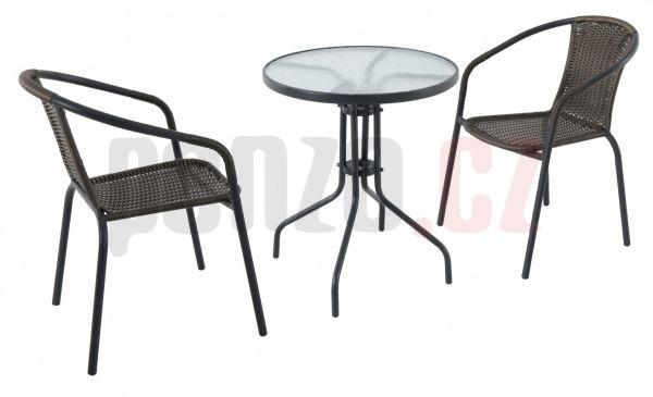 Pikolo set - kovový kruhový stůl se dvěma stohovatelnými židlemi